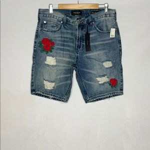 PACSUN MEN FLORAL/DISTRESSED EMBROIDERED SHORTS